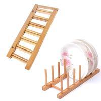 Bamboo Wood Plate Rack Bamboo Dish Rack Shelf CD Drainboard Multifunctional Rack Rack Wood Plate Rack