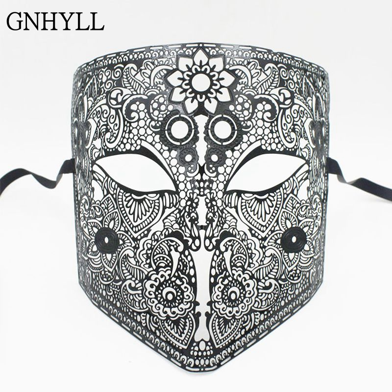 GNHYLL Full Face Bauta Phantom Cosplay Venetian Masquerade Mask Black Skull Halloween Shield Mardi Gras Metal Party Mask