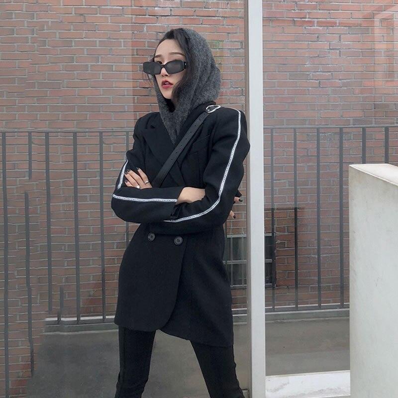 Out En Femmes Pleine Nouveau Mode Collar Design xitao D'origine Casual Creux Turn down Manches Lyh2548 Retour Europe 2019 Des Printemps Black Manteau qxgv4tf4w