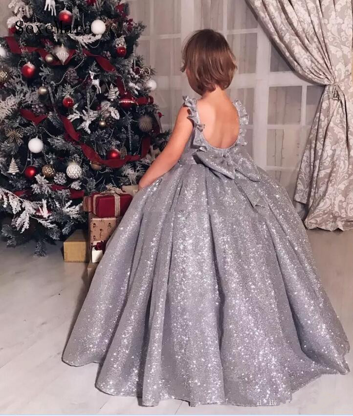 New Silver Sequins Little Girls Birthday Dress Open Back with Big Bow Ball Gown Girls Pageant Gown Party Dress Custom Made Size