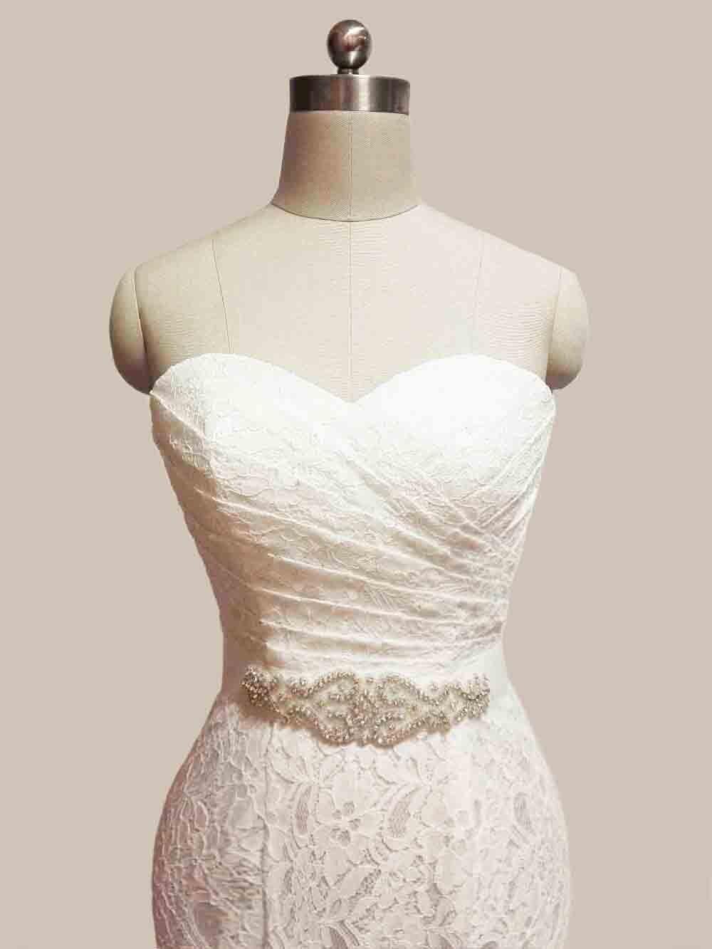 JIERUIZE vestidos de novia White Lace Mermaid Wedding Dresses 2017 Sash Sweetheart Lace Up Back Wedding Gowns abiti da sposa 3