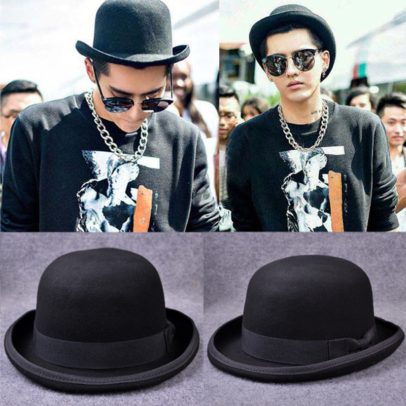 Paris fashion Men Wool Jazz Hat Dome Floppy Brim Fedora Hat Black Grey  Vintage Dress Casual 38b2e6fce6f3
