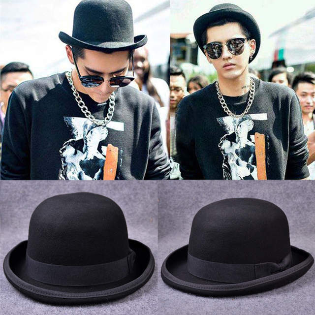 Paris fashion Men Wool Jazz Hat Dome Floppy Brim Fedora Hat Black Grey  Vintage Dress Casual 263e52b48bc