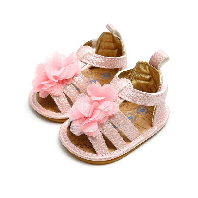 9d2696361276e Summer Newborn Baby Girls Shoes PU Flower Leather Princess Shoes Infant  Kids Toddler Soft Sole Non-slip Crib Shoes