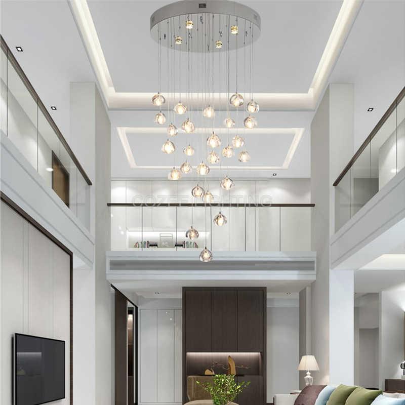 Современная Потолочная люстра огни для жизни Обеденная Спальня домашнее светодиодное освещение лестницы хрустальная люстра висячая лампа светильник