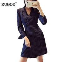 RUGOD 2018 New Design Office Lady Wearing Blazer Dress for Women Double Breasted Long Sleeve Long Jacket Dress Vestidos Mujer