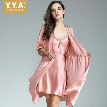 Women Sexy Homewear Belted Slim Fit Bathrobe Top Quality 100% Silk Nightdress Robe Sets Vintage Lace Suspender Pajamas Two Piece