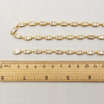 WT-BC088 Elegant Brass Chain With Sparlkly Cubic Zircon In Best Gold Trim For Women Jewelry Making Finings 6mm