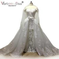 Vestido De Noiva Long Bridal Gown pearls Detachable Skirt Wedding Dress 2017 Vintage Lace Wedding Dresses With Detachable Train