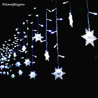 Feimefeiyou Waterproof 3 5M 96 LED Snowflake 8 Modes String Fairy Light For Christmas New Year