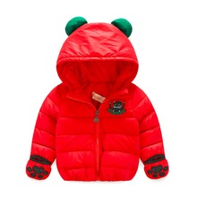 Boys Girls Winter Hooded Bunny Ears Bear Ears Down Jacket Outwear Coat Causal Tops Red Black Color For 2,3,4,5,6,7 Years Old