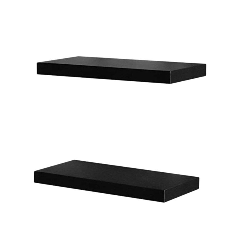 Set Of 2 Floating Shelves Wall Mounted Shelf For Home Decor Black 15.7 Inch