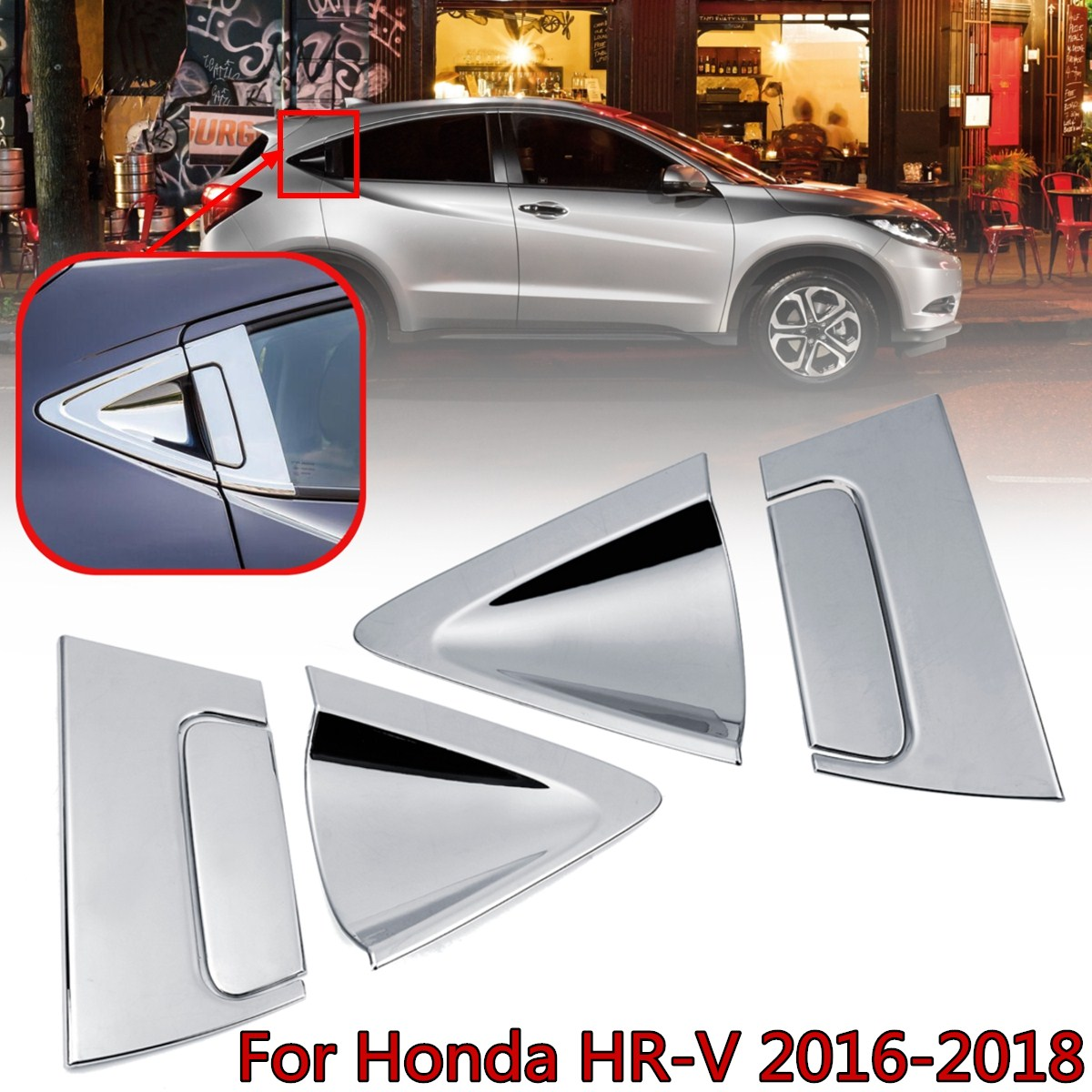 6pcs ABS Chrome/Carbon fiber Side Rear Door Handle Cover Bowl Cover Insert Trim For <font><b>Honda</b></font> for HR-V <font><b>HRV</b></font> 2016-2018 Car <font><b>Accessories</b></font> image