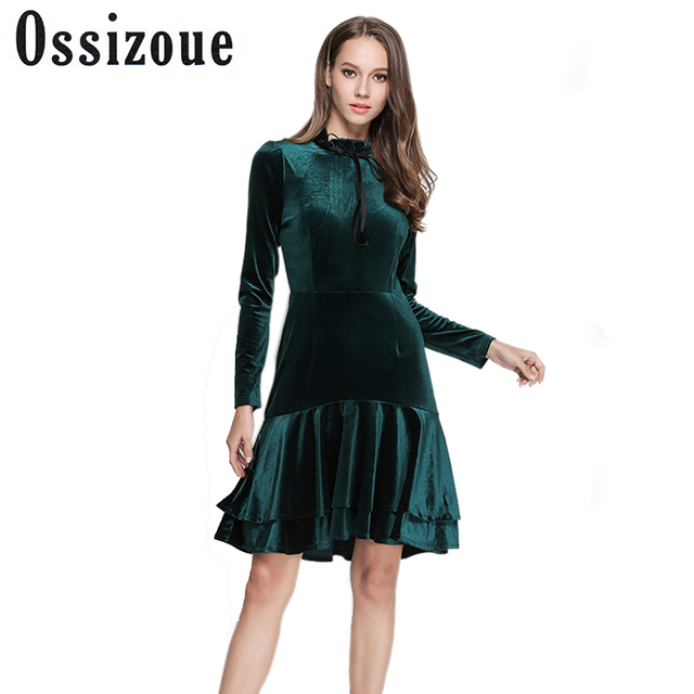 Runway Dresses 2018 Women High Quality Spring Winter Green Velvet Dress Vintage Y Evening Party
