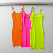 Summer Fluorescence Stretch Knitting Mini Dress Sexy  Club Women Straps Slim Party Dresses Vestidos Femme