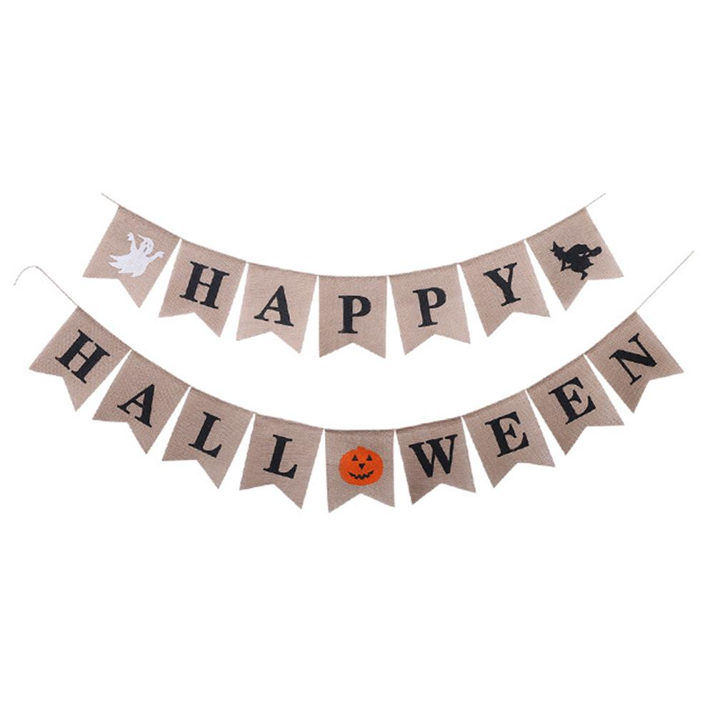 Happy Halloween Witch Party Decoration Linen Bunting Burgee Halloween Banners Bar Decor Pennant Bunting Party Supplies