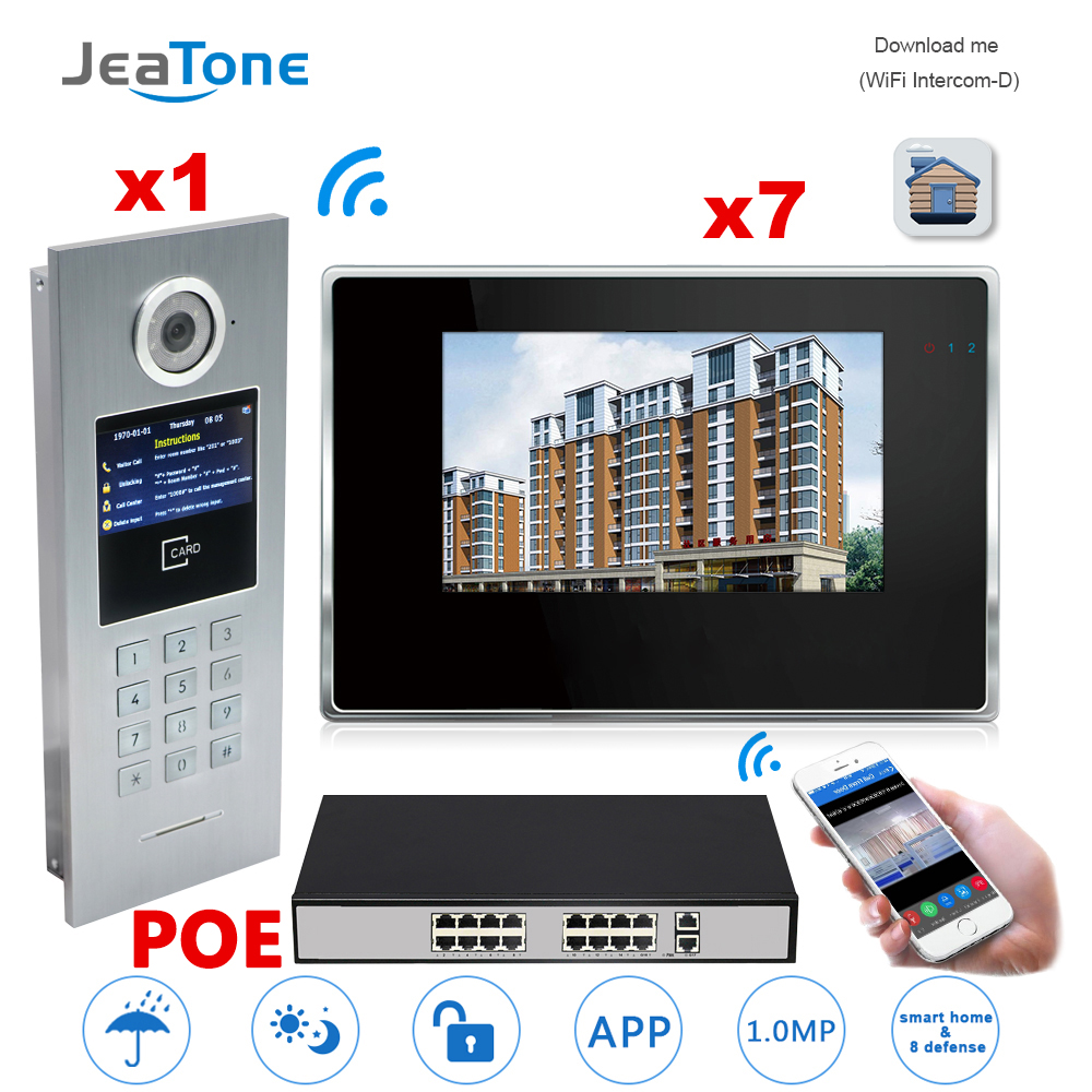7'' Touch Screen WIFI IP Video Door Phone Intercom +POE Switch 7 Floors Building Access Control System Support Password/IC Card