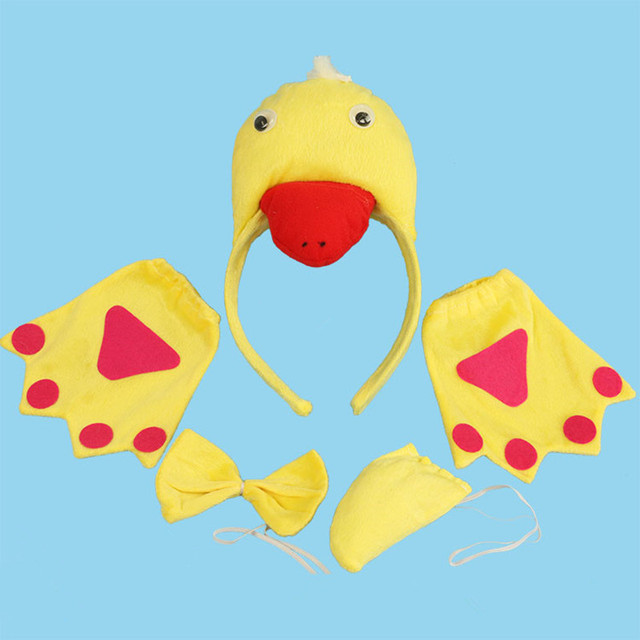 Kids Boy Girl 3D Yellow Duck Headband Tail Tie Claws Gloves Props Animal  Cosplay Costume Halloween 43b6e593457