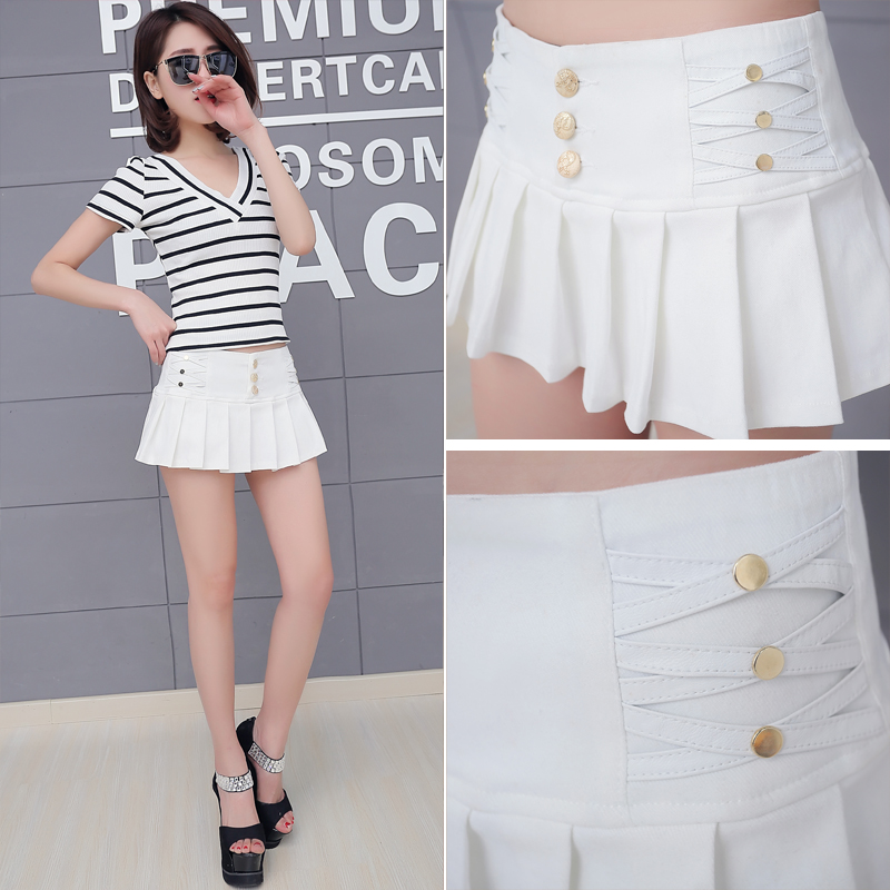 Elasticity Waist Pleated Skirt   Shorts   Women 2018 New Summer Style All-match Black White Stretch Hotpant Miniskirt Micro   Short