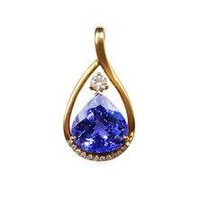 Lii Ji 18K Gold Tear Drop 12.39Ct Natural Tanzanite Diamond Pendant