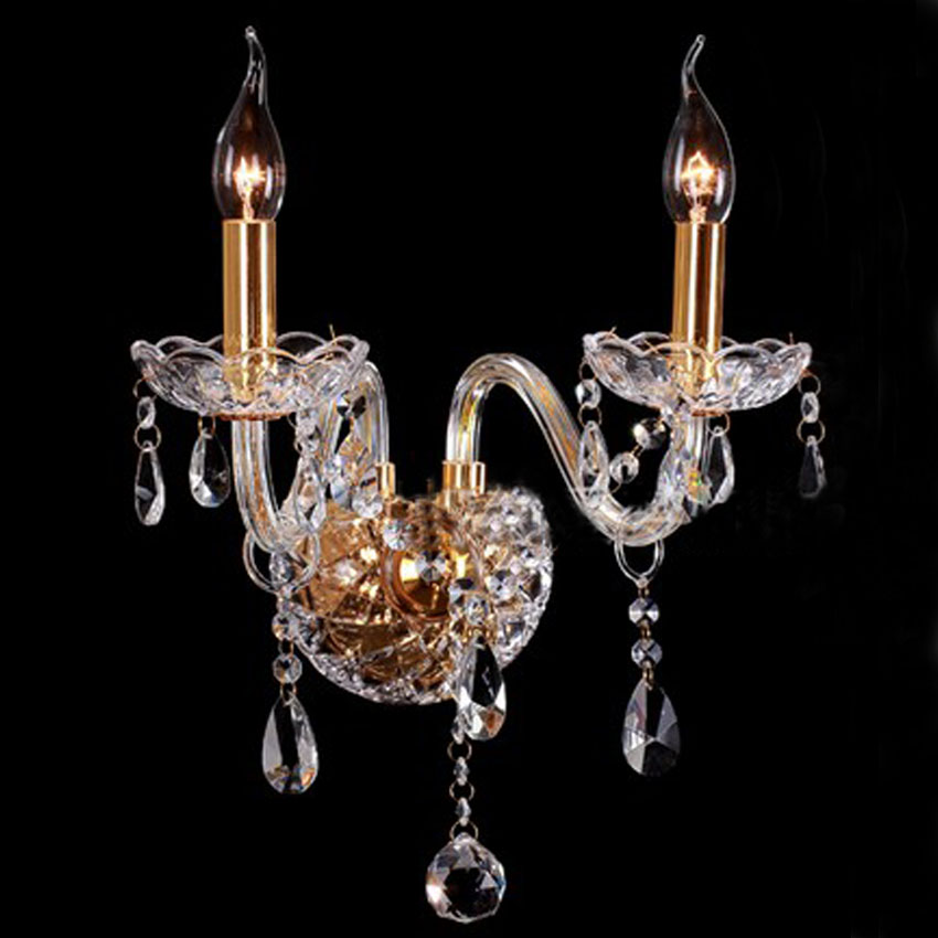 Luxury Europe style candle Wall Sconce Lighting 1 arm 2 arm gold amber color crystal wall