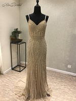 New Design Long Prom Dresses 2018 Spaghetti Strap Sleeveless Floor Length Mermaid Sequined Evening Gowns Vestido