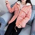 Ucrânia-Tempo limitado Algodão Cor Sólida Zipper 2016 Novo Casaco de Inverno Com Capuz Tamanho Cordeiro Grosso Coreano Estudantes Do Sexo Feminino E jaqueta