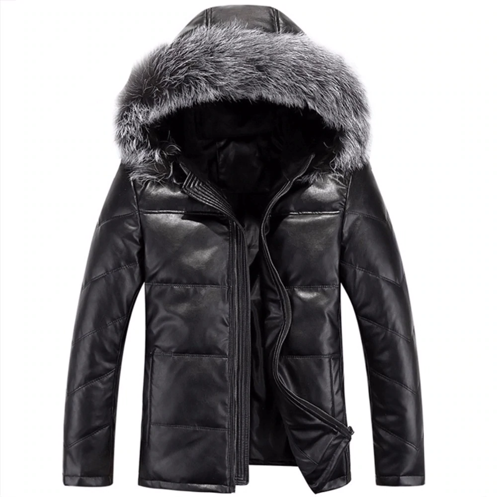 Men   Coat   Winter   Down   Jacket Men Leather Jacket Male   Down     Coat   Jackets Windproof Warm Fox Fur Collar NEW 2018 Winter Jacket 4XL