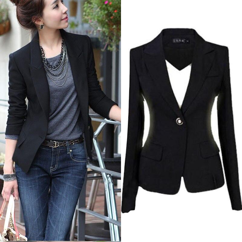 Large Size Women Slim Blazer Suit Jacket 3XL New Women Slim One Button Short Blazer Suit Jacket Coat Long Sleeve Black S-XXXL