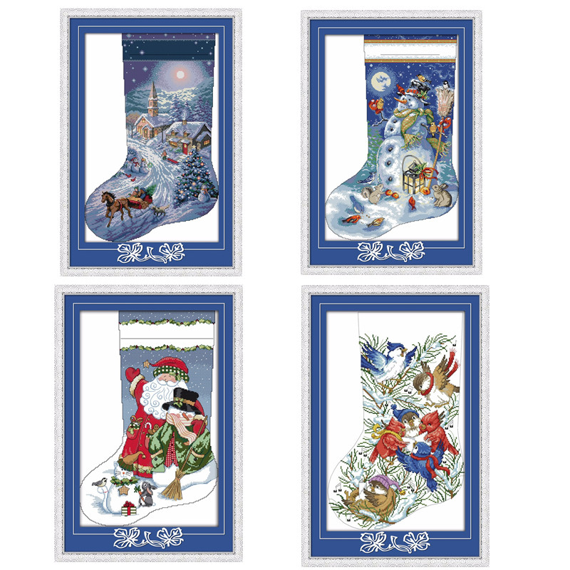 Christmas Stocking-Christmas Eve Santa Claus Snowman Carols Decor Paintings Counted Printed On Canvas DMC 14CT 11CT Cross Stitch