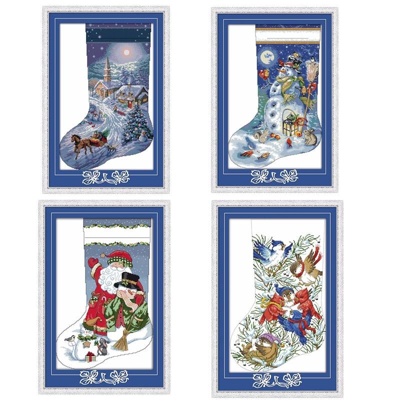 Christmas Stocking-Christmas Eve Santa Claus Snowman Carols Decor Paintings Counted Printed On Canvas DMC 14CT 11CT Cross Stitch