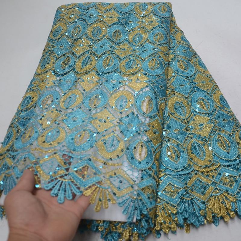 (5 Yards/pc) Licht Afrikanische Große Schnur Spitze Stoff Mit Glänzende Pailletten Mode Guipure-spitze Stoff Für Party Kleid Wlp010 Billigverkauf 50%