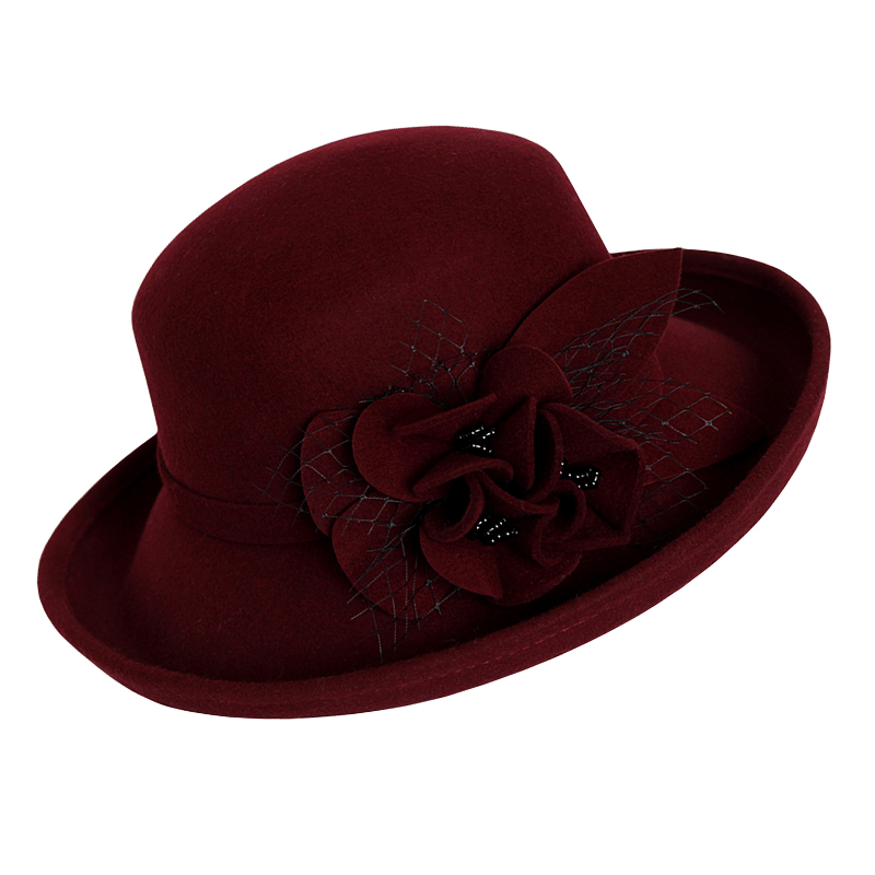 41156e826b3 FS Vintage Large Wide Brim 100% Wool Felt Fedora Hat Winter Women Flowers  Black Khaki Wine Red Mesh Church Bowler Derby Hats-in Fedoras from Apparel  ...