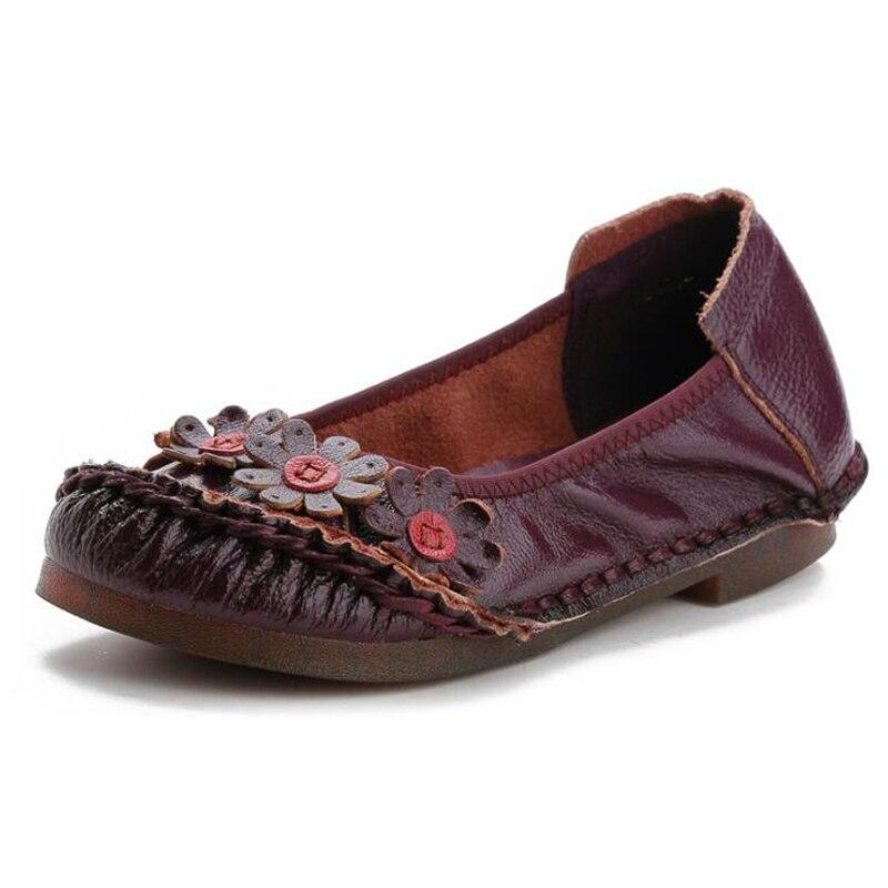 Mocassins Covoyyar Slip Drop Casual Grandes Chaussures Wfs400 Black Appartements marron Tailles Vintage 41 Ship red 35 Fleur En Femmes Sur Souple vert Cuir blanc gris 2019 rC6qar