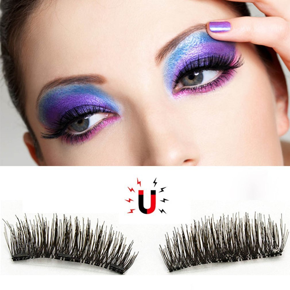Double <font><b>Magnetic</b></font> False <font><b>Eyelashes</b></font> 3D Naturally Realistic <font><b>Magnet</b></font> <font><b>Eyelashes</b></font> Natural Look Ultra Thin Fake Eye Lashes Women Girls GIFT image