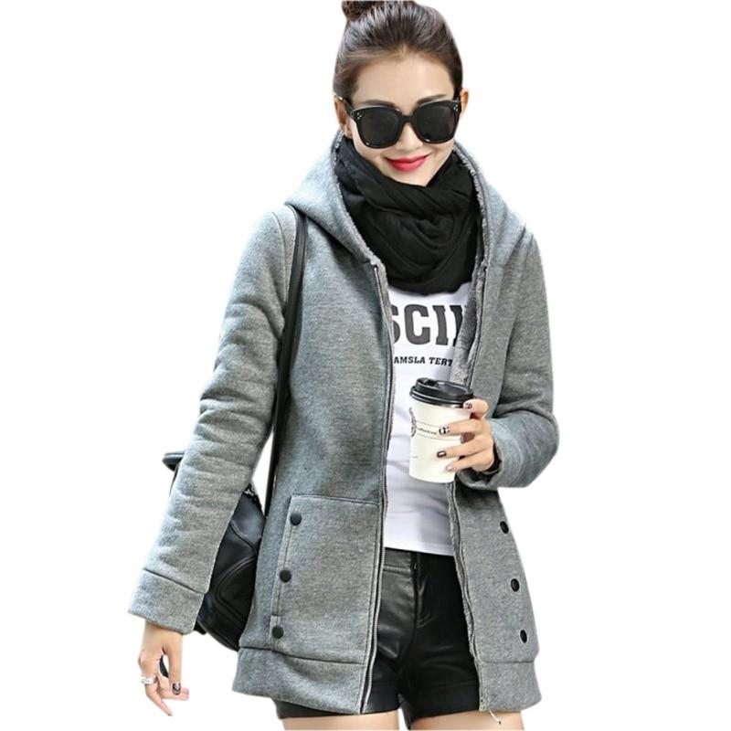 Fashion Zipper Jacket Solid Feminino Women Hoodies