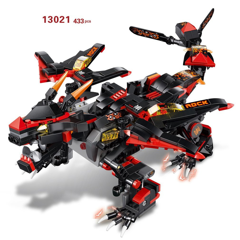 2.4G 4H USB Charging Building Block Thunder War Dragon 410/485/433/515pcs DIY Storm Dragon Electric RC Robot Model For Children