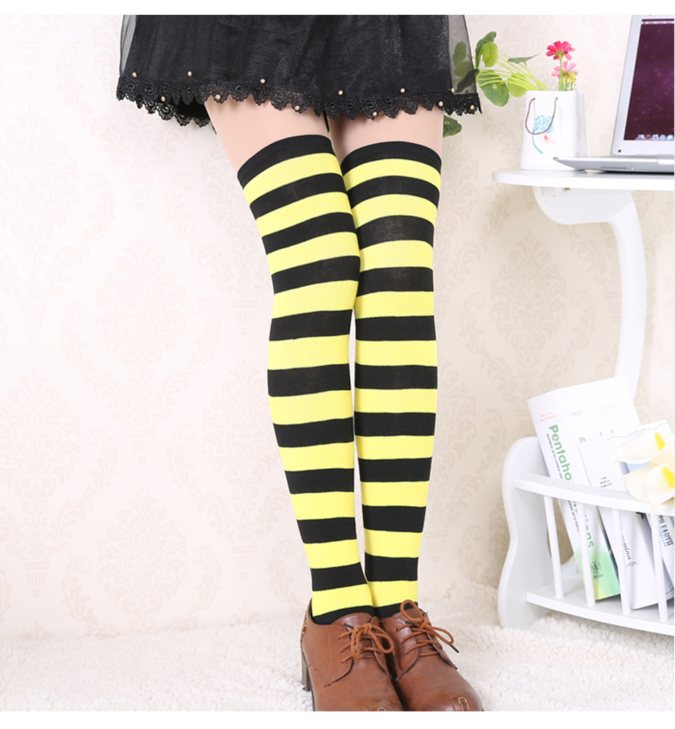 1Pair New Women's Over The Knee Large Size Stockings Sexy Thighs High Stripes Pattern Sock 6 Color Sweet Cute Warm Winter 2019 (8)