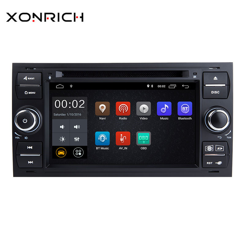 Xonrich Autoradio 2 Din Android 8.1 Voiture Lecteur DVD GPS Pour Ford Focus 2 Ford Fiesta Mondeo 4 C- max S-Max Fusion Transit Kuga 4g