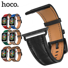 цена на HOCO Genuine Leather Strap Bracelet Belt for Apple Watch 44mm 42mm 40mm 38mm Band for iWatch Series 4 3 2 1 Replacement Wrist