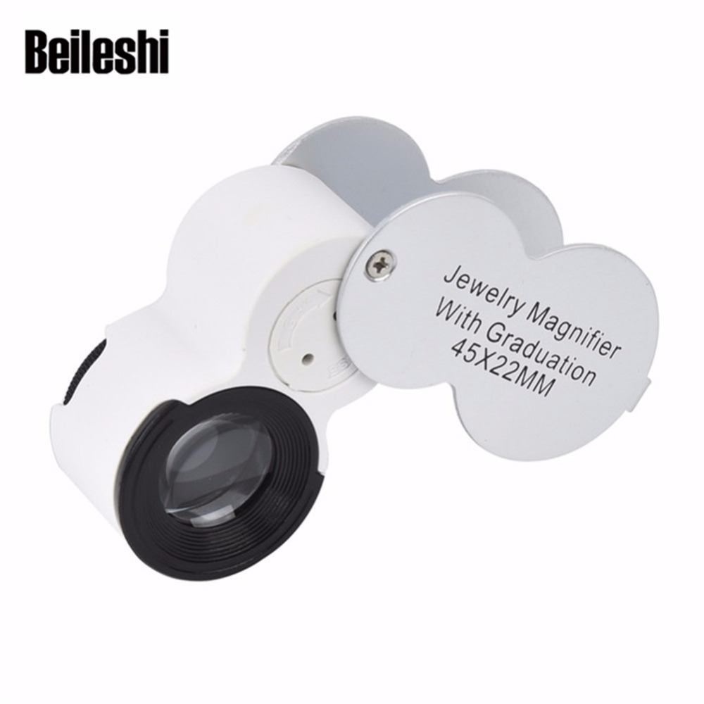 Beileshi 45X 22mm Microscope Watchmaker Magnifier LED Loupe Hands Glasses UV Light Jewelry Magnifying with Graduation