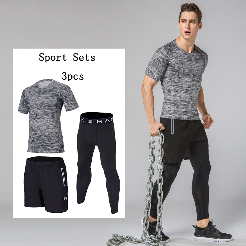 Men's Athletic 3 Piece Set-Shorts, Shirt, Leggings