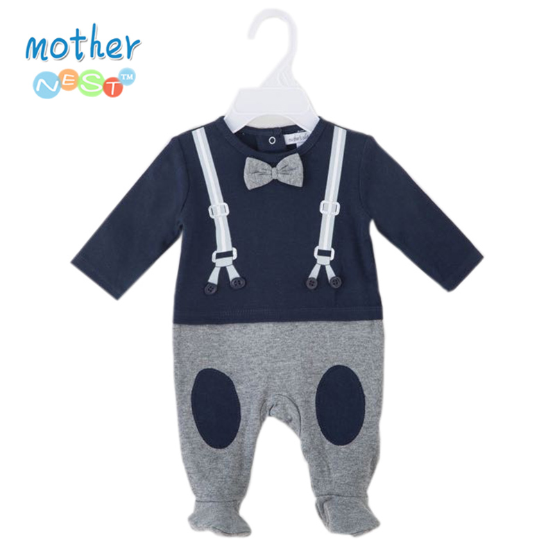 Mother Nest Newborn Infant Boy Rompers Cotton Gentleman Long Sleeve Playsuit 2018 Spring Autumn Hot Sale Baby Jumpsuits 0 12M