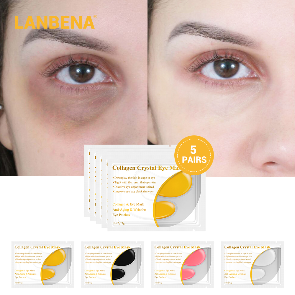 LANBENA 24K Gold Eye Mask Collagen Eye Patches Dark Circle Remover Puffiness Under Eye Bag Anti-Aging Anti Wrinkle Firming
