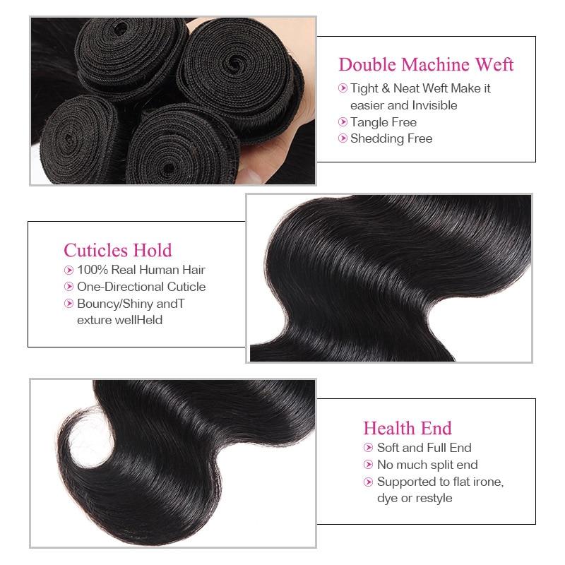 4 Bundles Brazilian Body Wave Bundles Deal Meetu Braziian Human Hair - Skönhet och hälsa - Foto 3