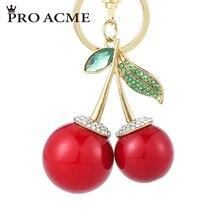 ФОТО pro acme pretty chic red cherry crystal  keychain for women men rhinestone bag pendant purse key chains pendant llaveros pwk0825