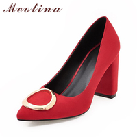 Meotina Shoes Women Pumps High Heels Pointed Toe Thick High Heel Shoes Office Lady Work Shoes Gray Red Apricot Big Size 9 10 43