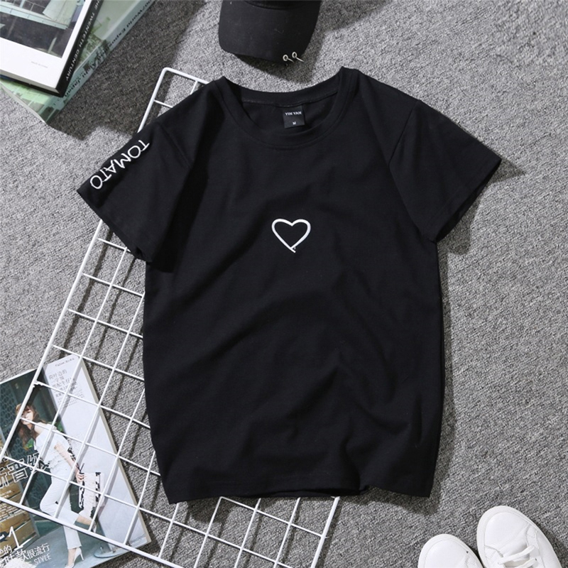 Couples Lovers Embroidery Shirt For Girl Women Love Heart Tomato Letter Print T-Shirt Casual  Black White Tops Tshirt