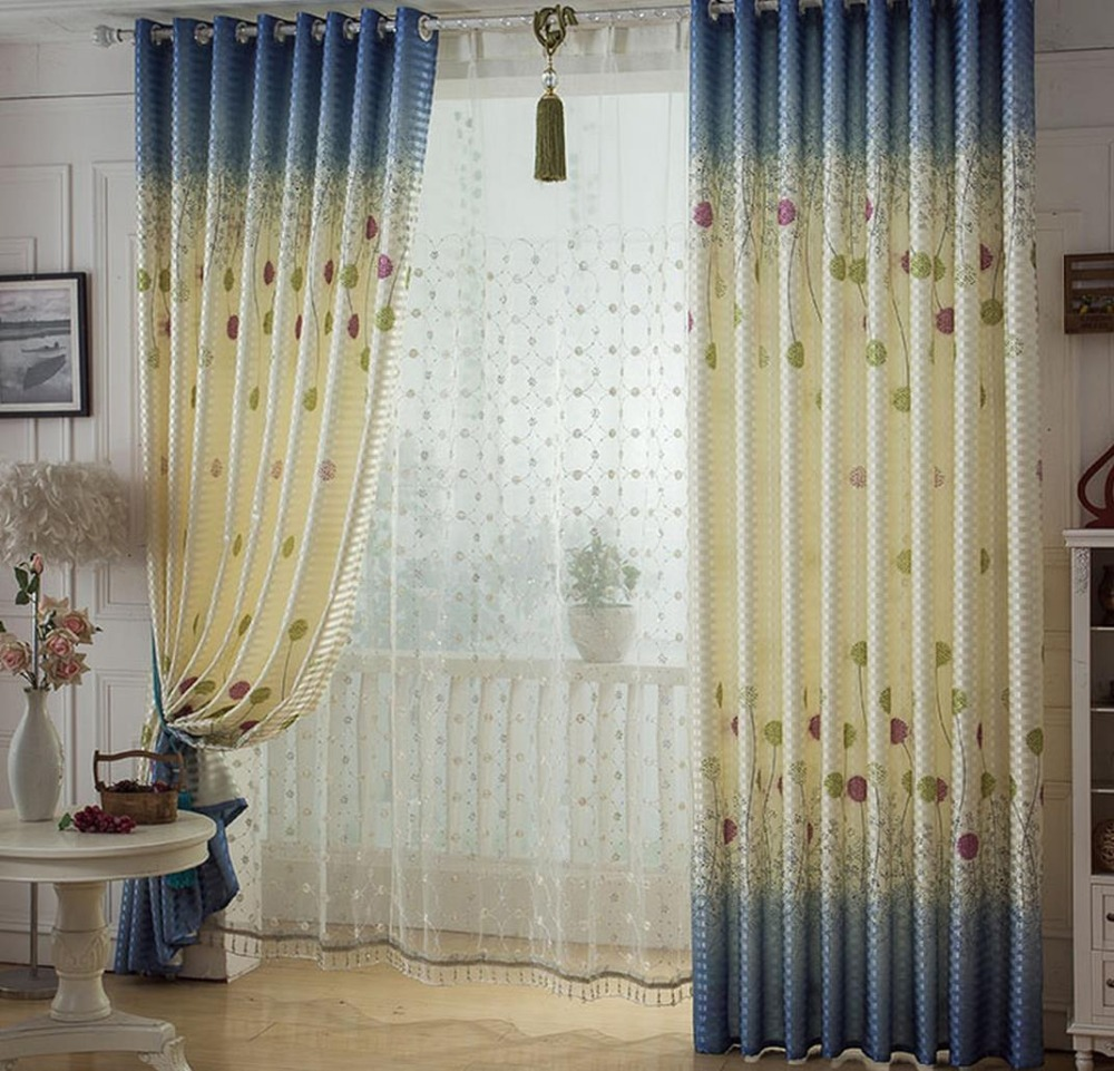 Light blue window curtains - Free Shipping Long French Windows 2 7 Meters Tall Dandelion Curtain Finished Half Shading Light Blue Bedroom