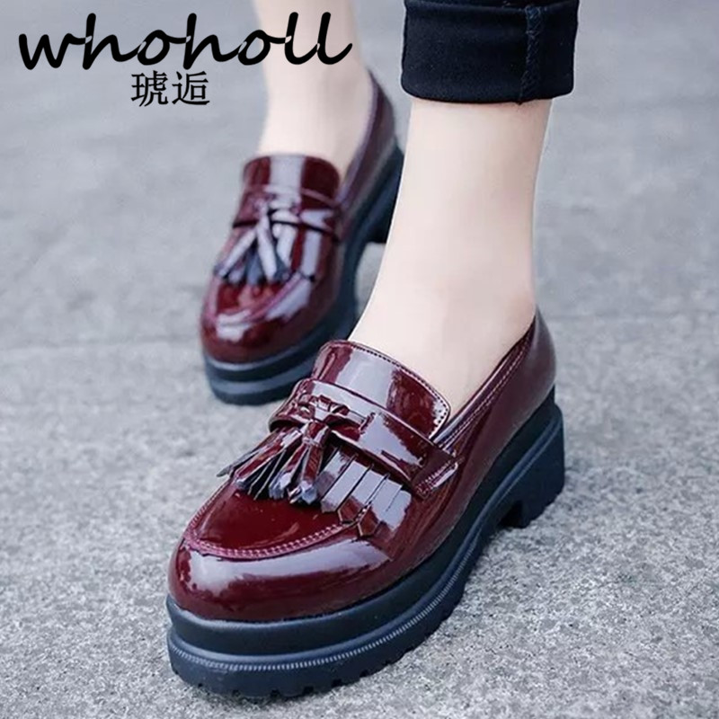 WHOHOLL Women Flats new British Style Oxford Shoes Spring Soft Leather Casual Retro Tassel Slip-on flat